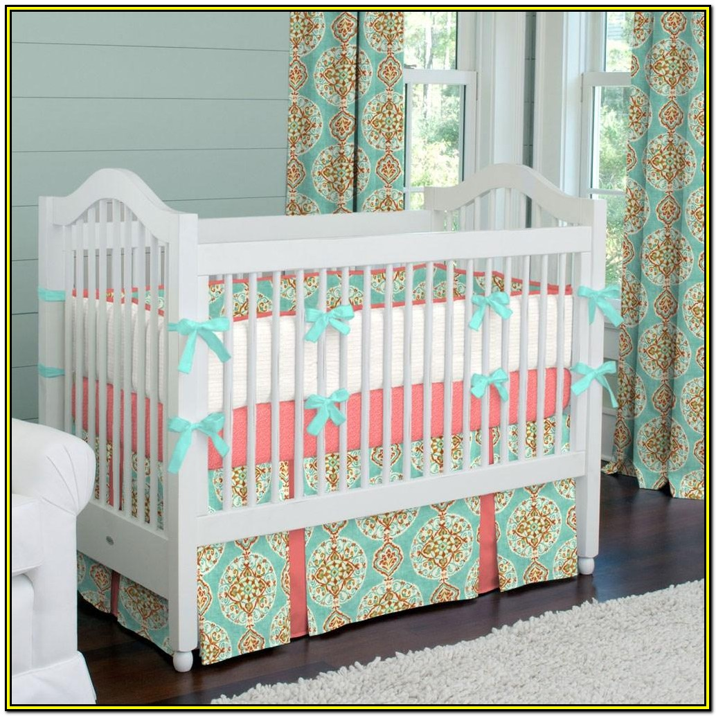 Aqua And Coral Baby Bedding