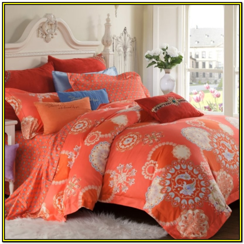 Aqua And Coral Bedspread