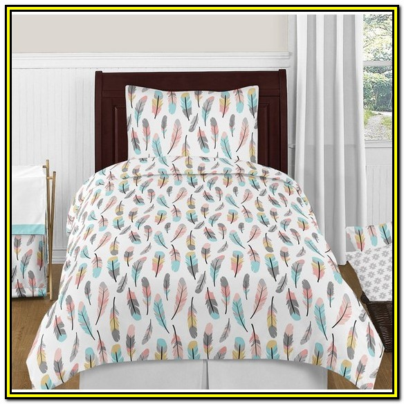 Aqua And Coral Twin Bedding