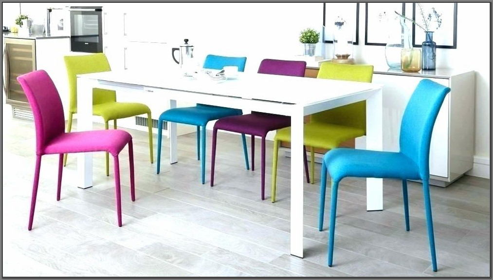 Dining Room Set With Colorful Chairs