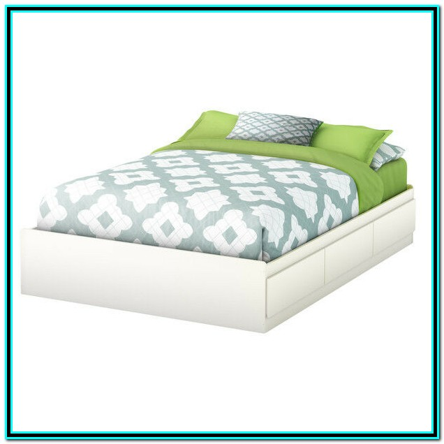 Full Bed Frame With Drawers White