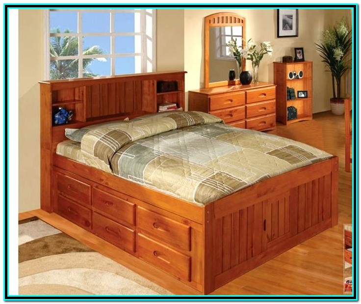 Full Bed With Drawers On One Side