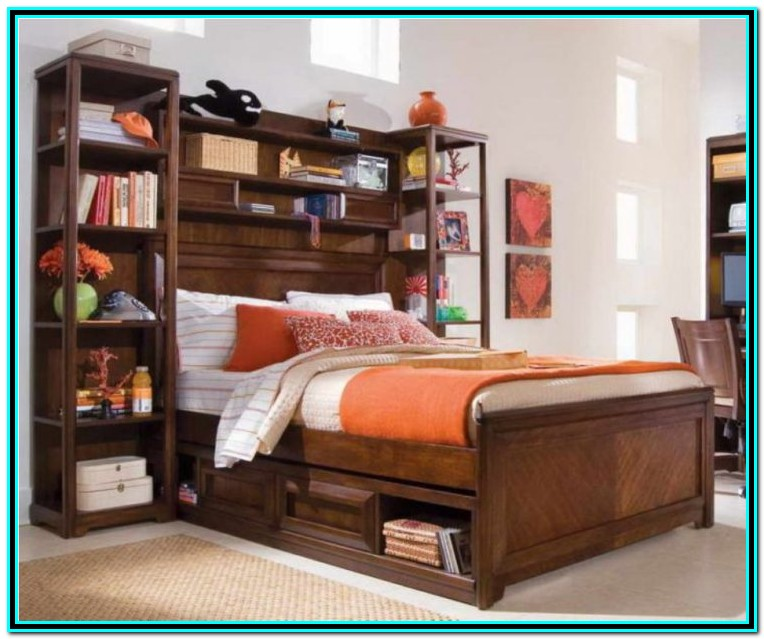 Full Bed With Storage And Bookcase Headboard