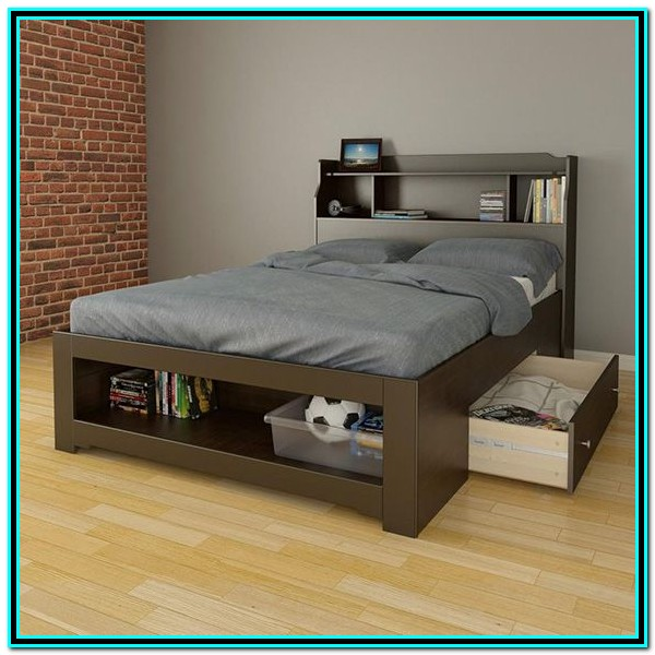Full Size Bed Frame With Drawers On One Side