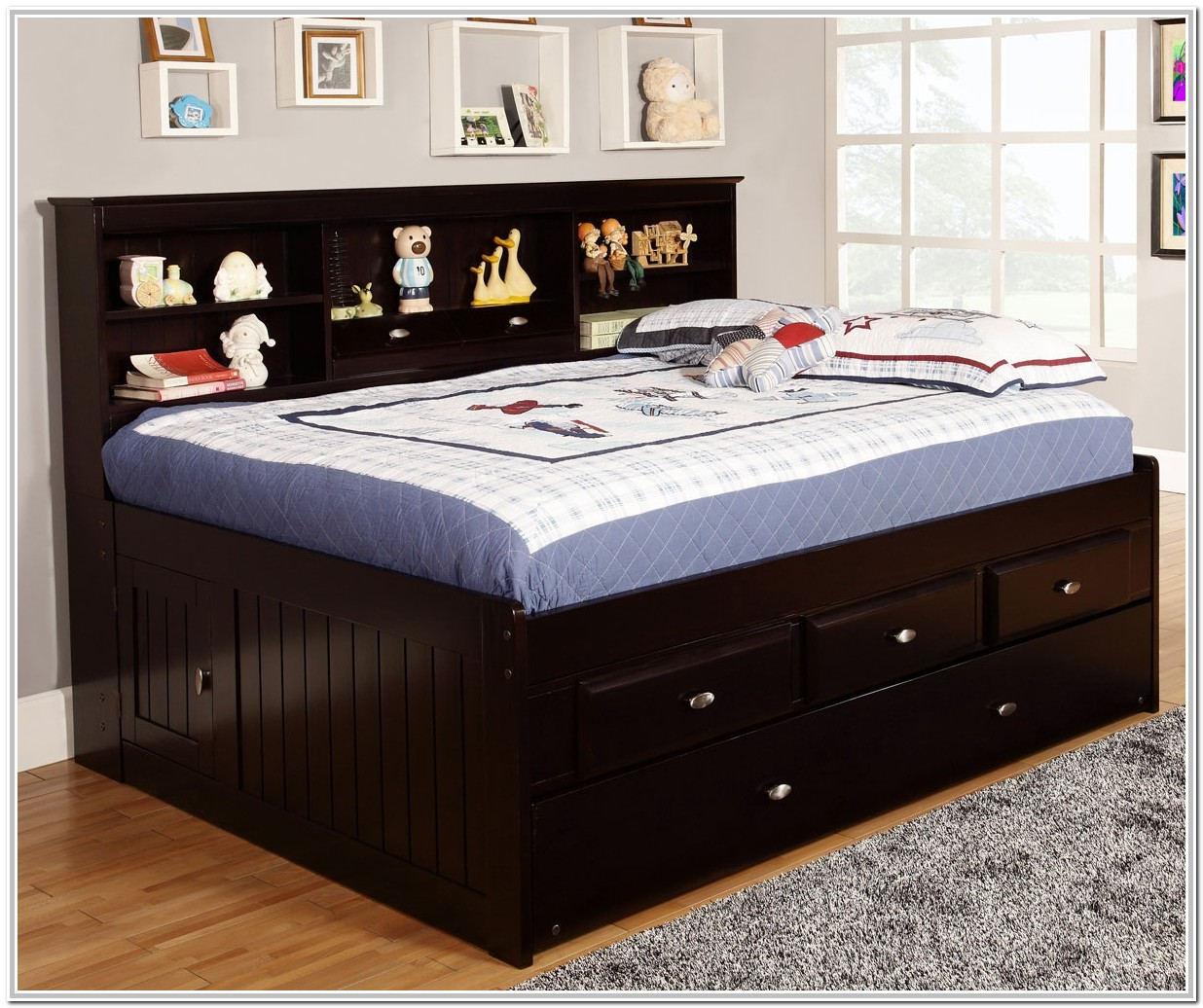 Full Size Trundle Bed With Bookcase Headboard
