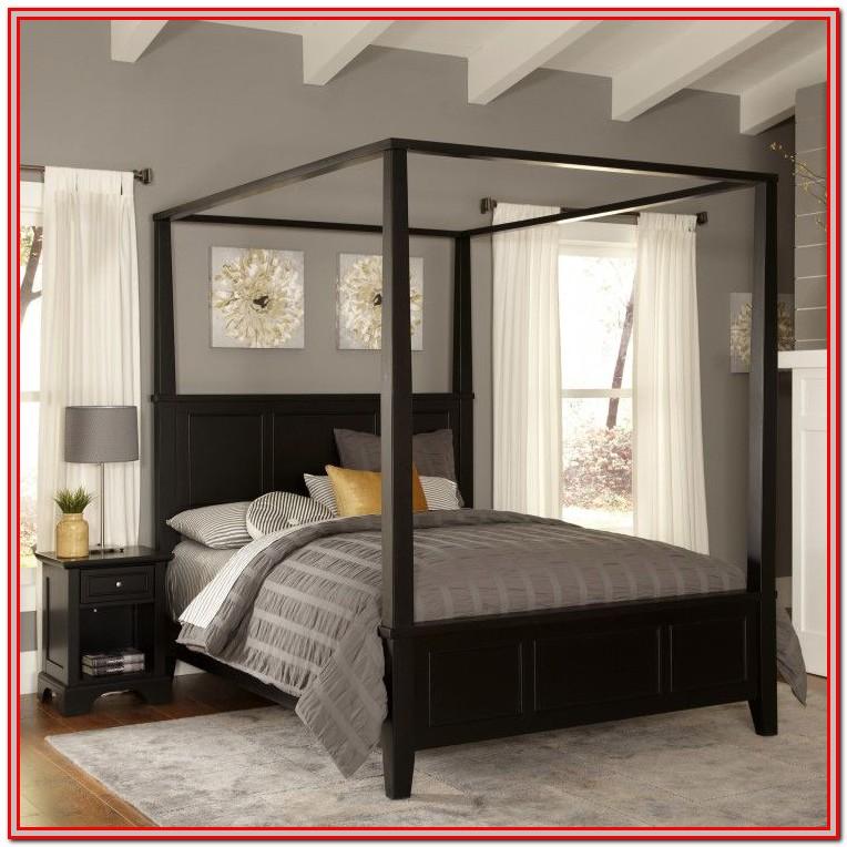 King Size Black Canopy Bed Frame