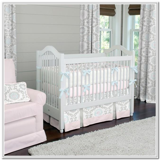 Light Pink And Gray Crib Bedding