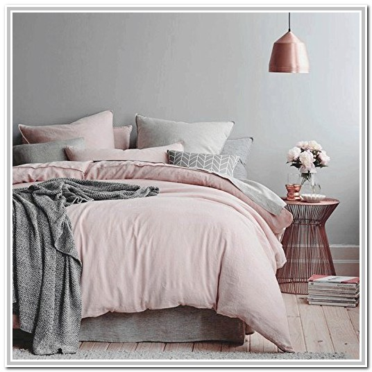 Light Pink And Grey Cot Bedding