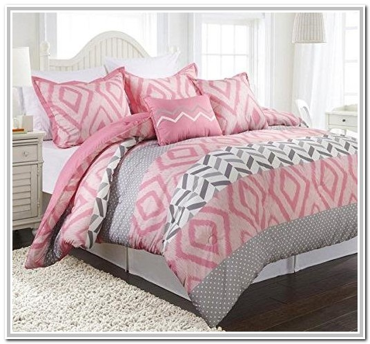 Light Pink And Grey Twin Bedding