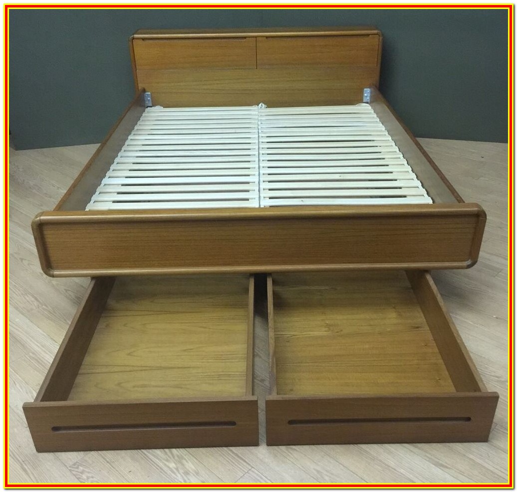 Mid Century Platform Bed With Storage