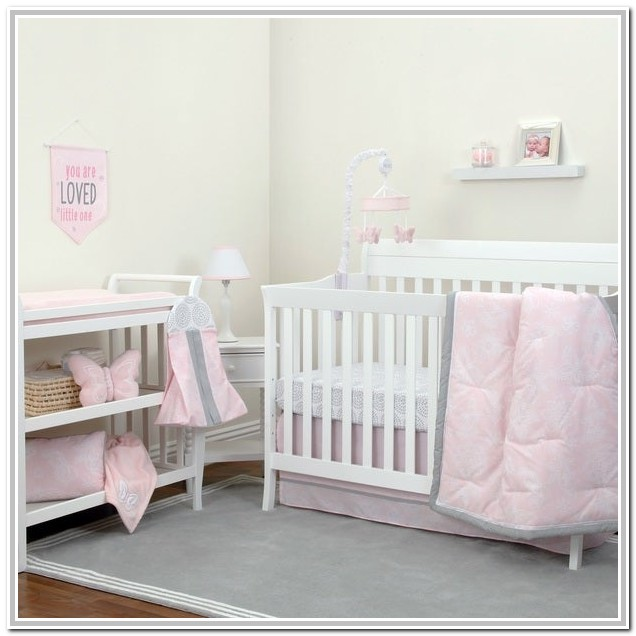 Pink And Grey Baby Bedding Sets