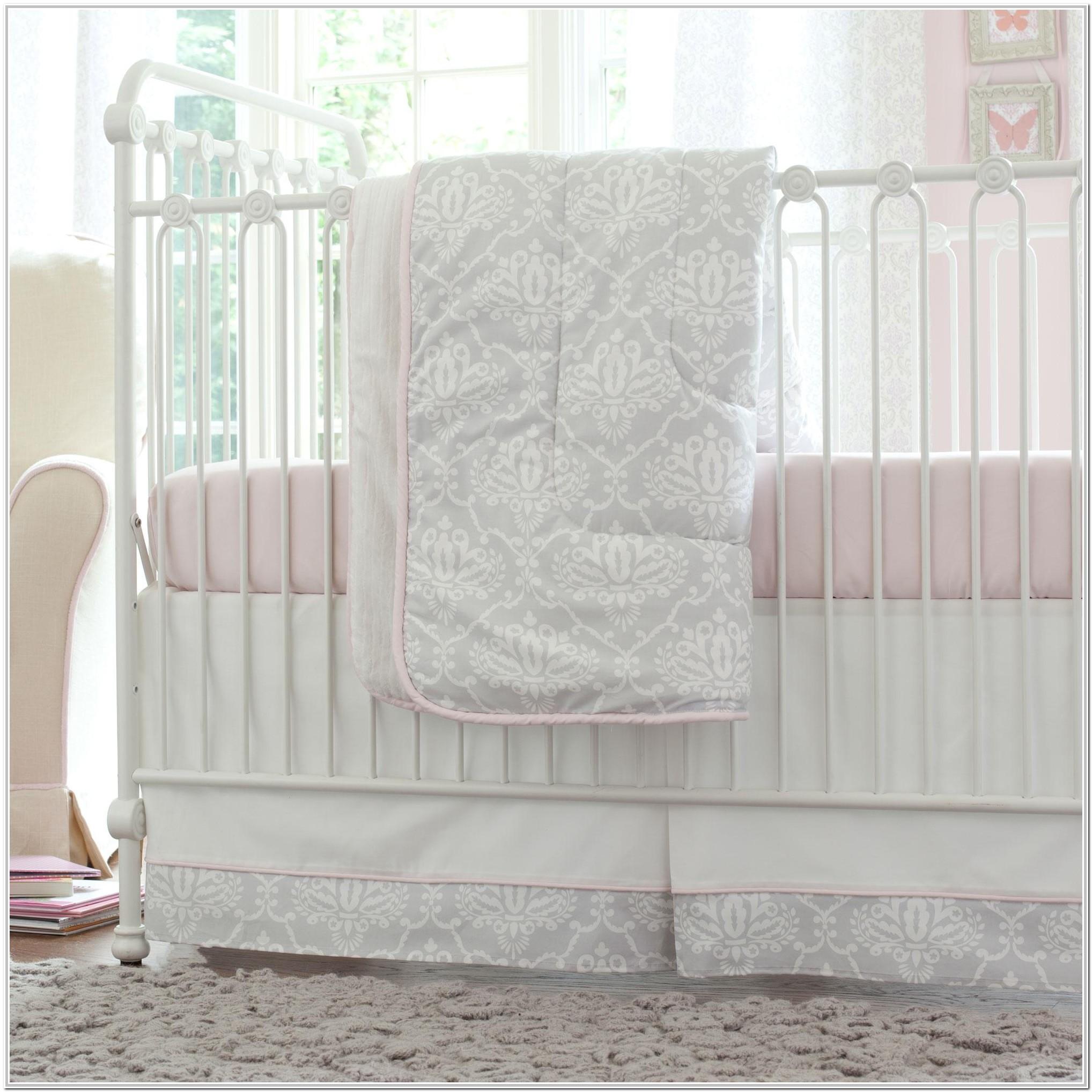 Pink And Grey Baby Crib Bedding Set