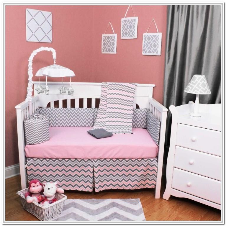 Pink And Grey Baby Crib Sets