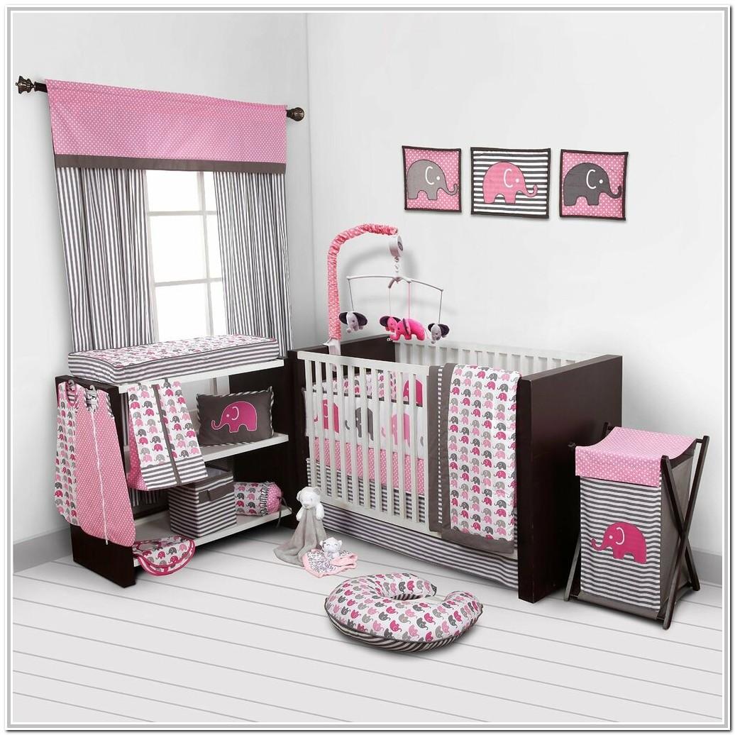 Pink And Grey Elephant Crib Bedding Set