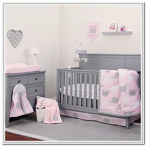 Pink And Grey Elephant Nursery Bedding Sets