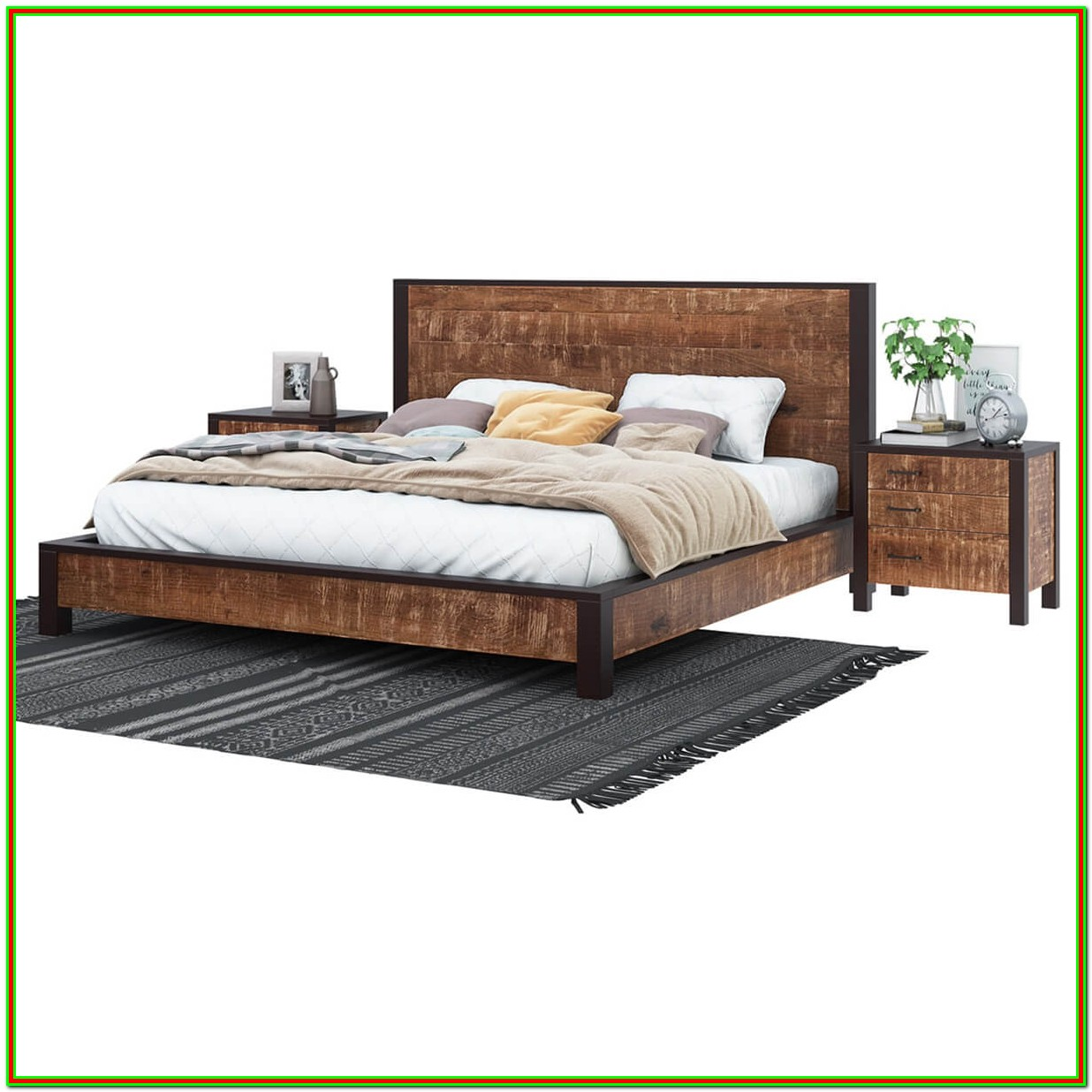 Platform Bed Frame With Headboard And Footboard