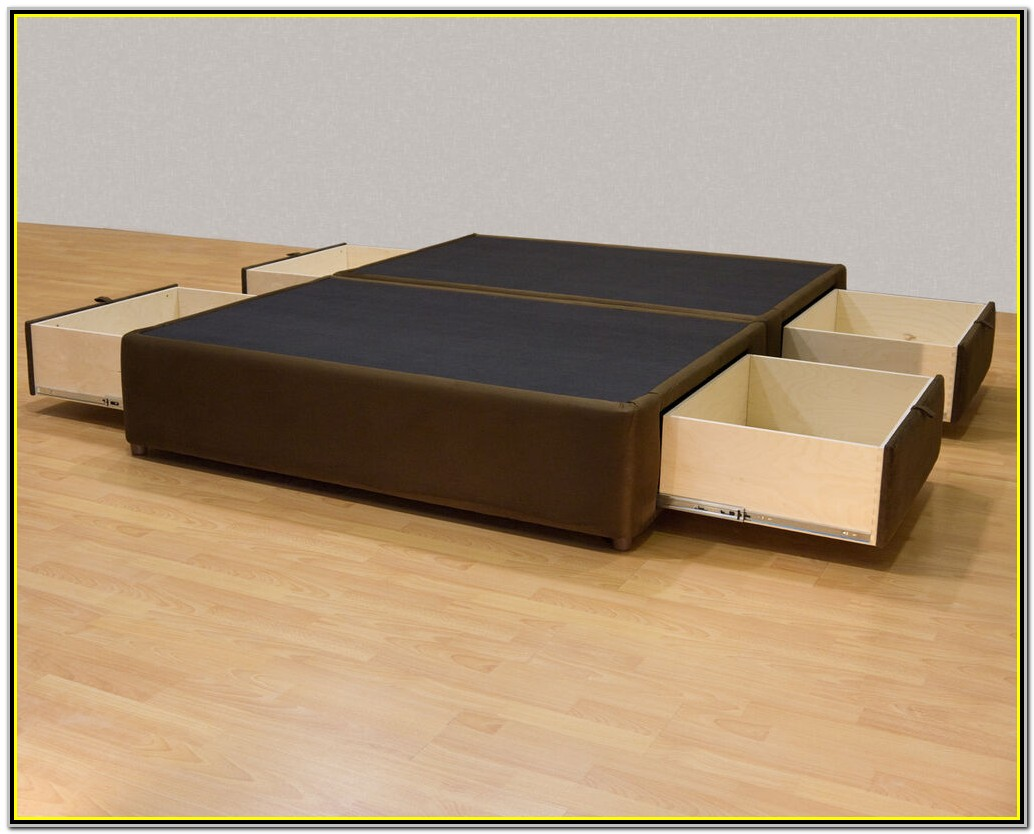 Platform King Size Bed Frame With Drawers
