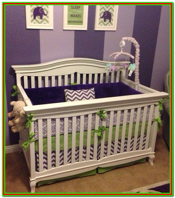 Purple And Green Nursery Bedding