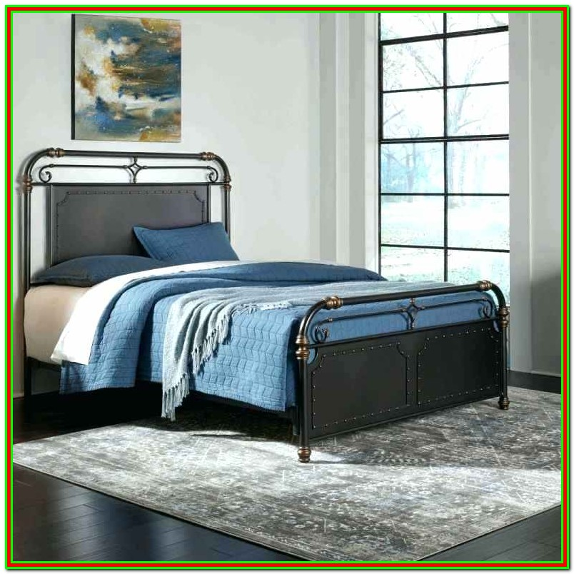 Queen Size Metal Bed Headboard And Footboard In Black Finish