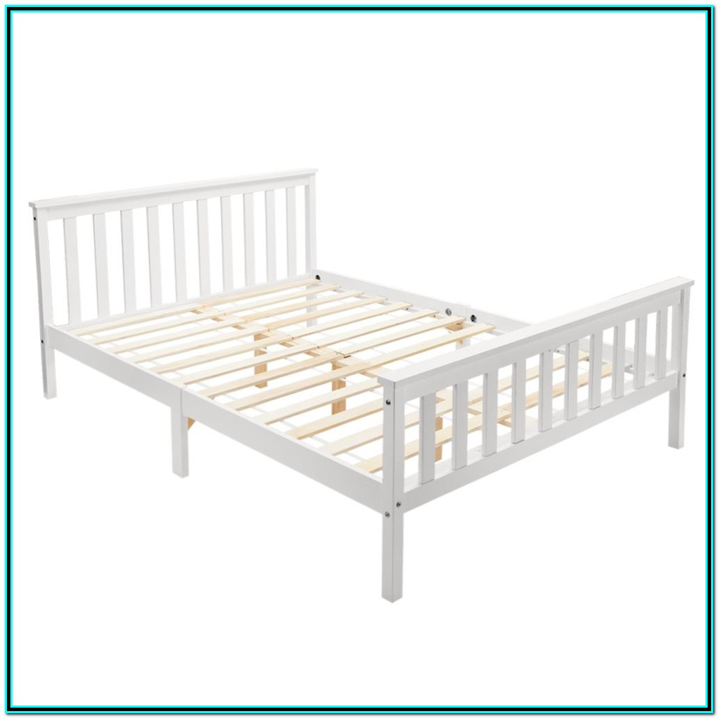 Solid Wood Double Bed Frame White