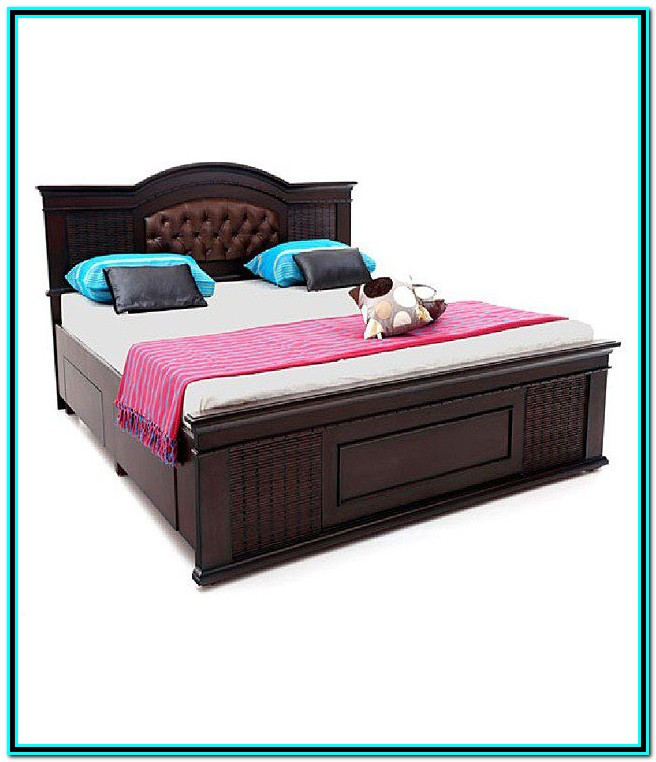 Solid Wood Double Bed Frame With Storage