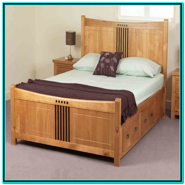 Solid Wood King Bed Frame With Storage