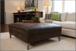 Square Leather Ottoman Coffee Table