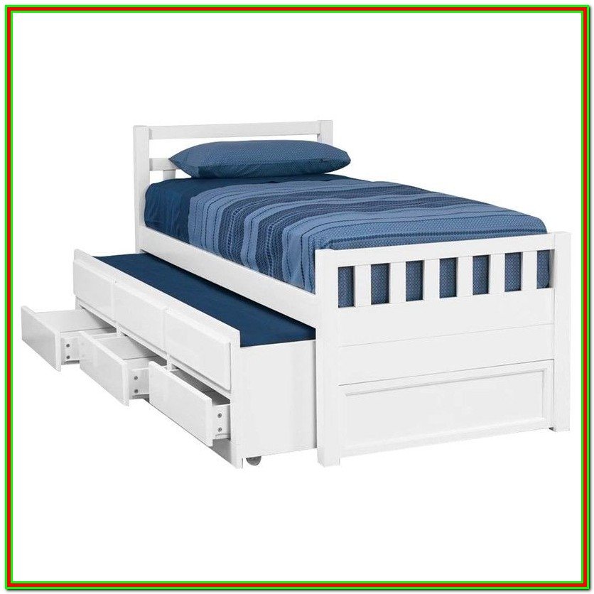Trundle Bed With Drawers White