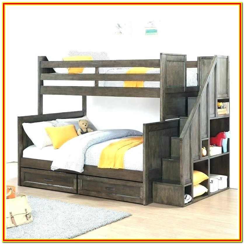Twin Over Full Bunk Bed With Desk And Drawers