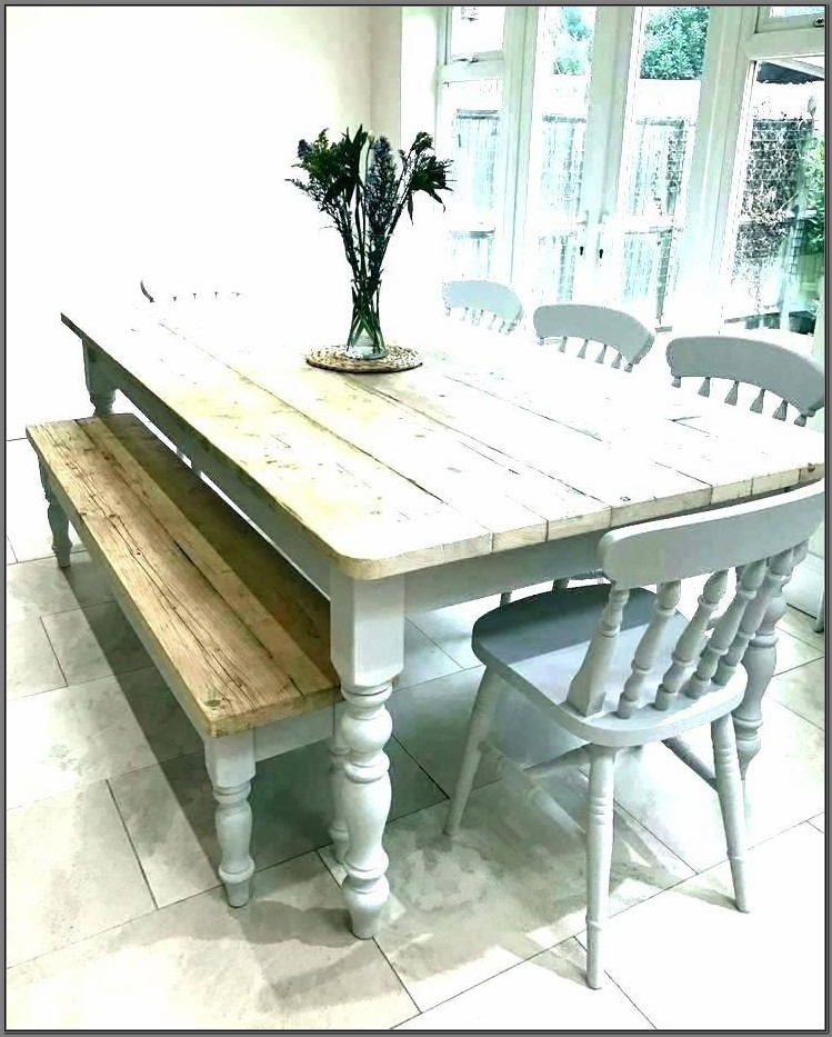 White Distressed Dining Room Table