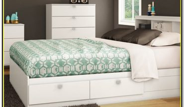 White Full Size Bed Frame With Storage
