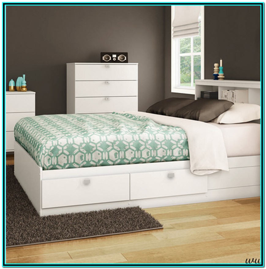 White Full Size Bed With Storage Drawers