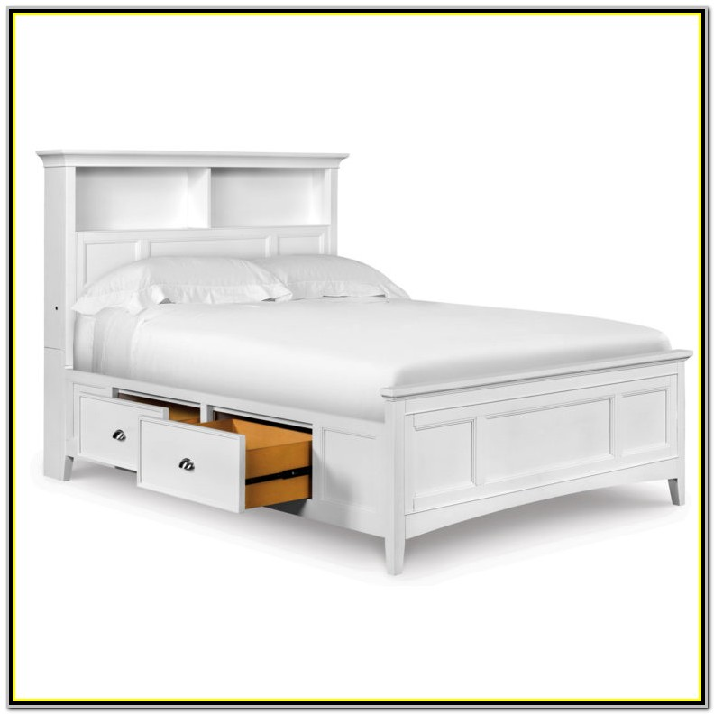 White Full Size Platform Bed Frame
