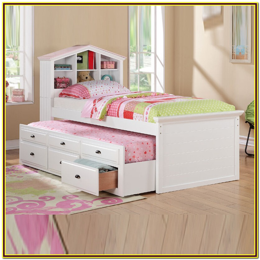 White Twin Trundle Bed With Bookcase Headboard