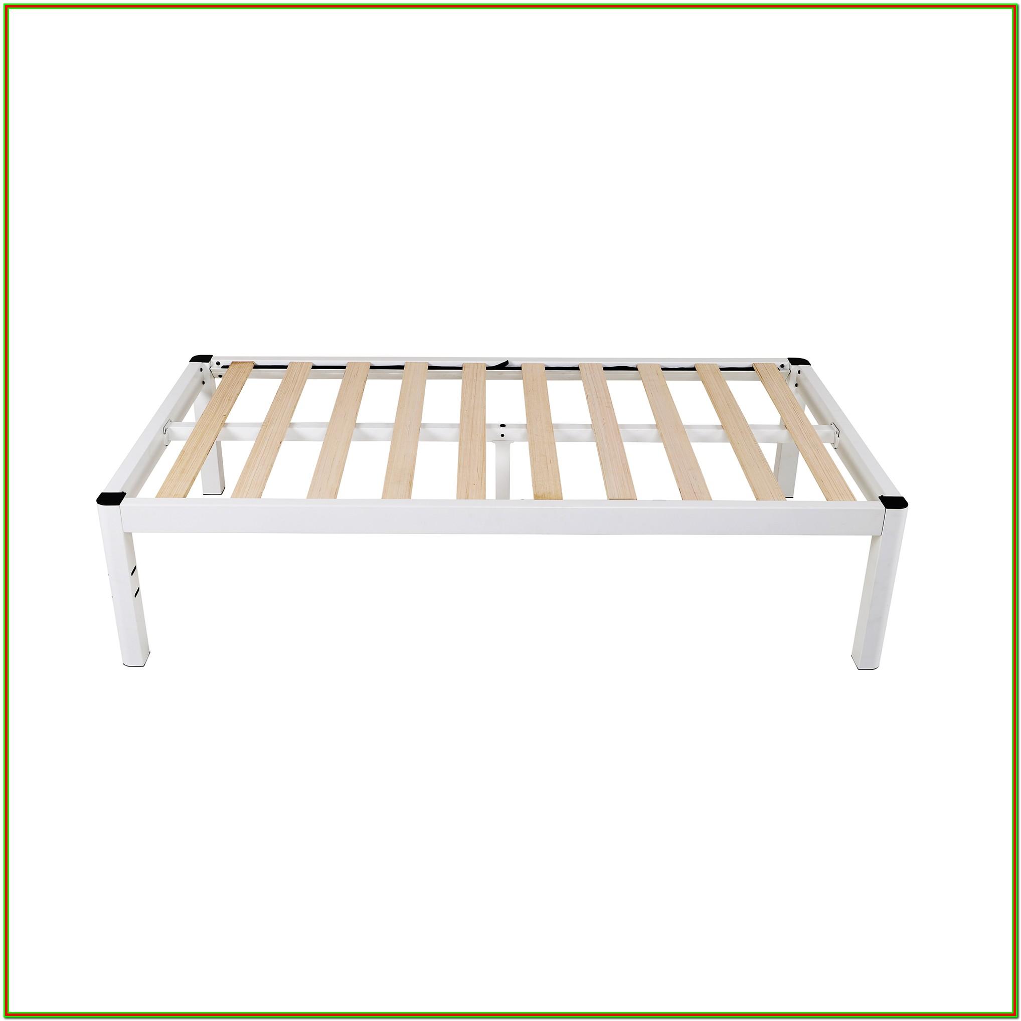 White Wood Twin Platform Bed Frame