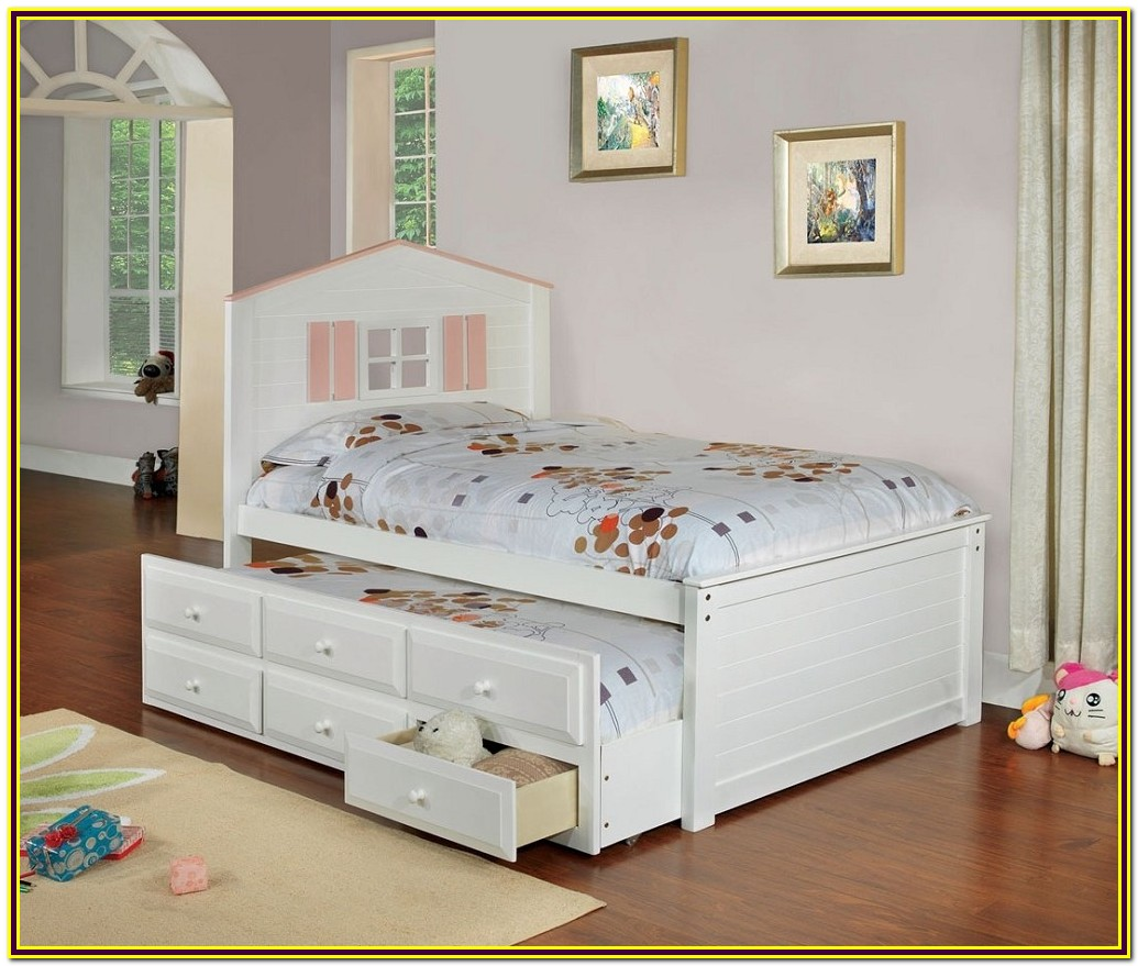 White Wood Twin Trundle Bed