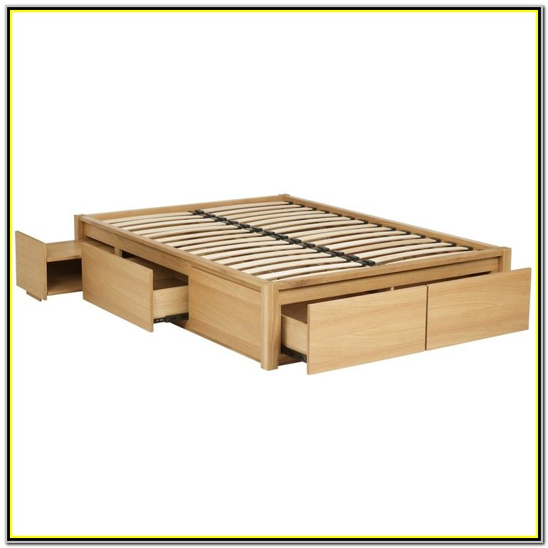 White Wooden King Size Bed Frame With Drawers
