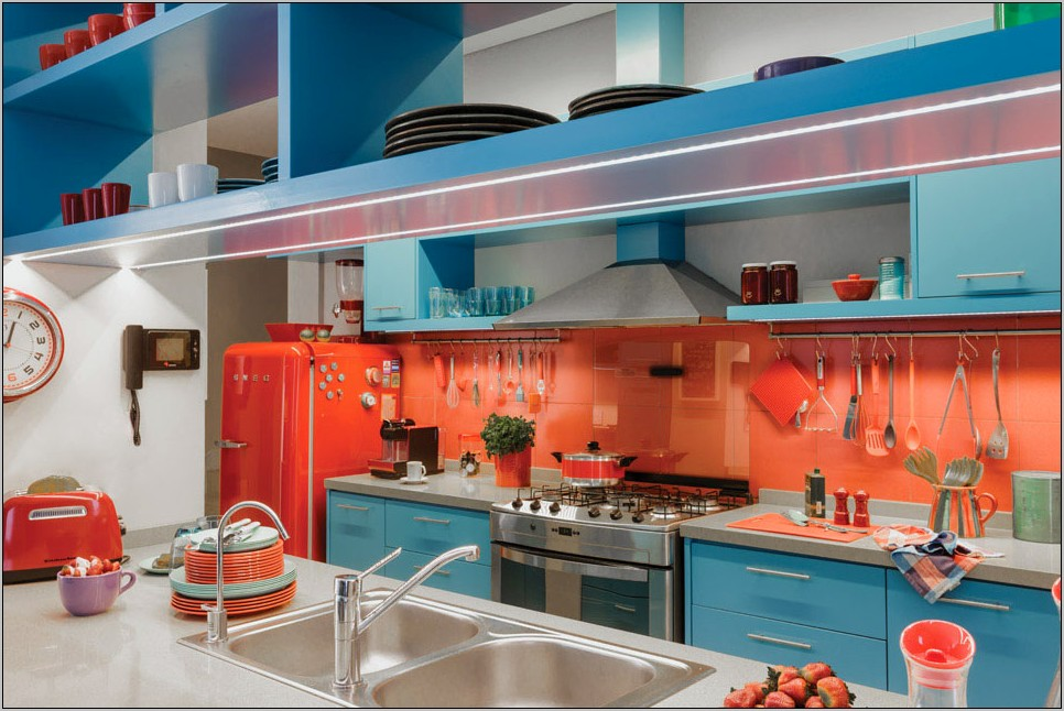 Blue Red Orange Kitchen Decor