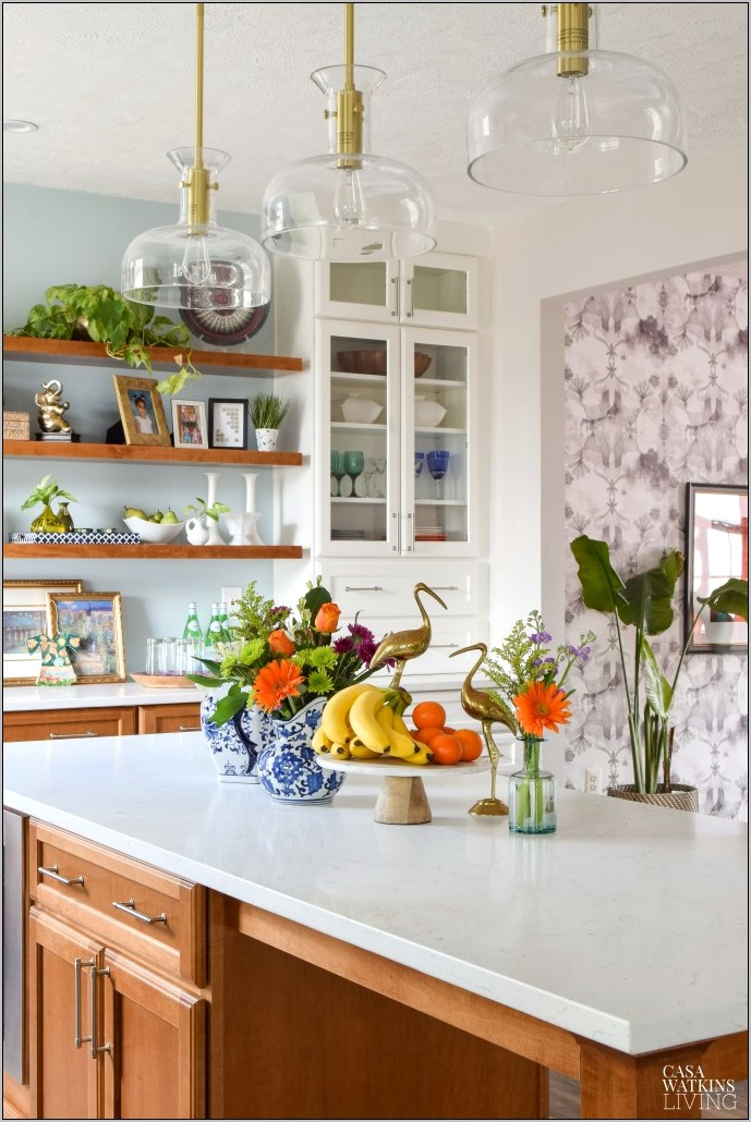 Boho Decor On An Island In Kitchen