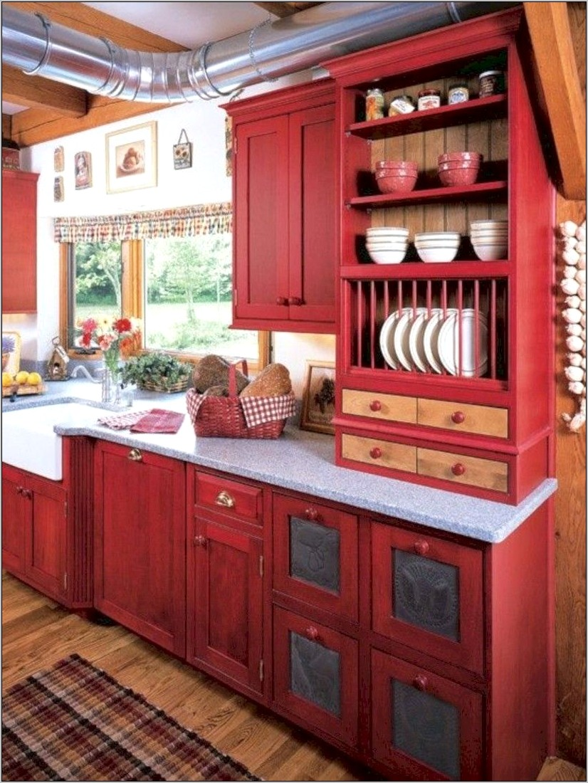 Country Style Kitchen Decor Ideas In Red