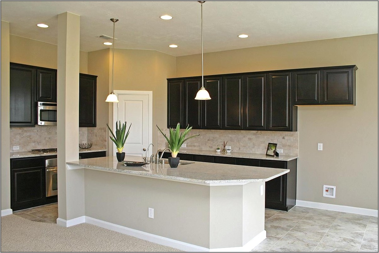 Dark Cabinets Light Granite Kitchen Decor