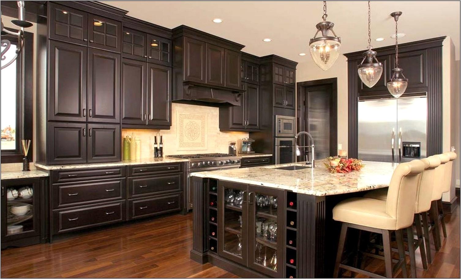 Dark Cabinets Light Granitegalley Kitchen Decor