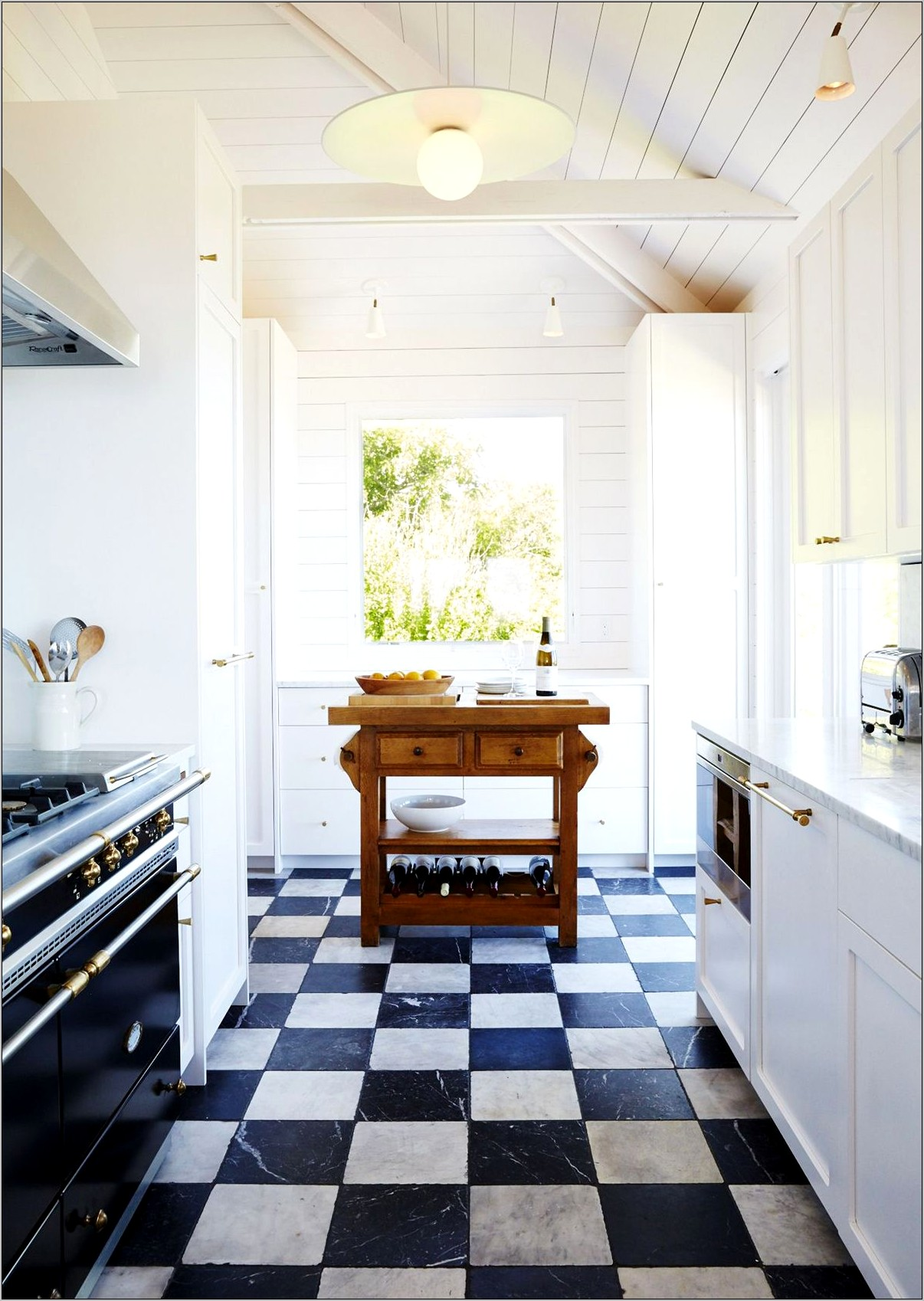 Decor Black And White Checker Kitchen Floor
