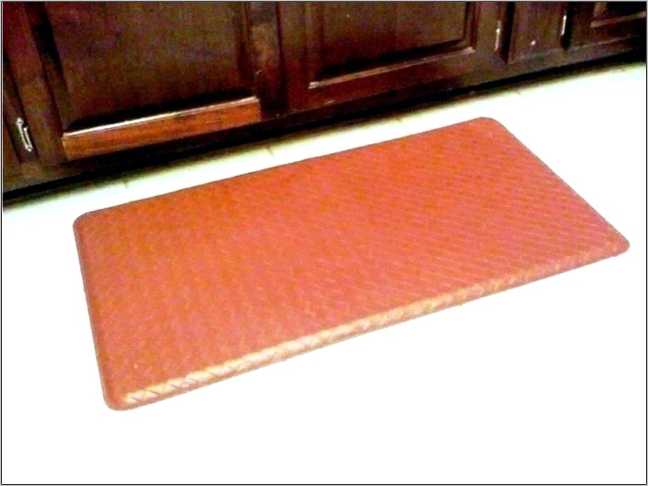 Decorated Leather Anti Fatigue Kitchen Mat