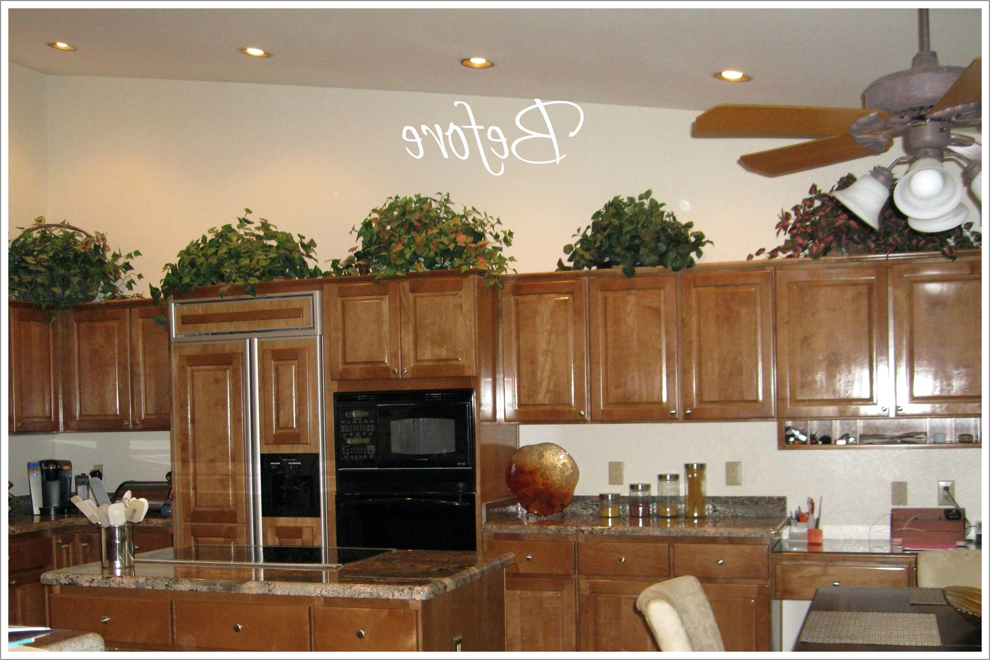 Decorating Above Wood Kitchen Cabinets