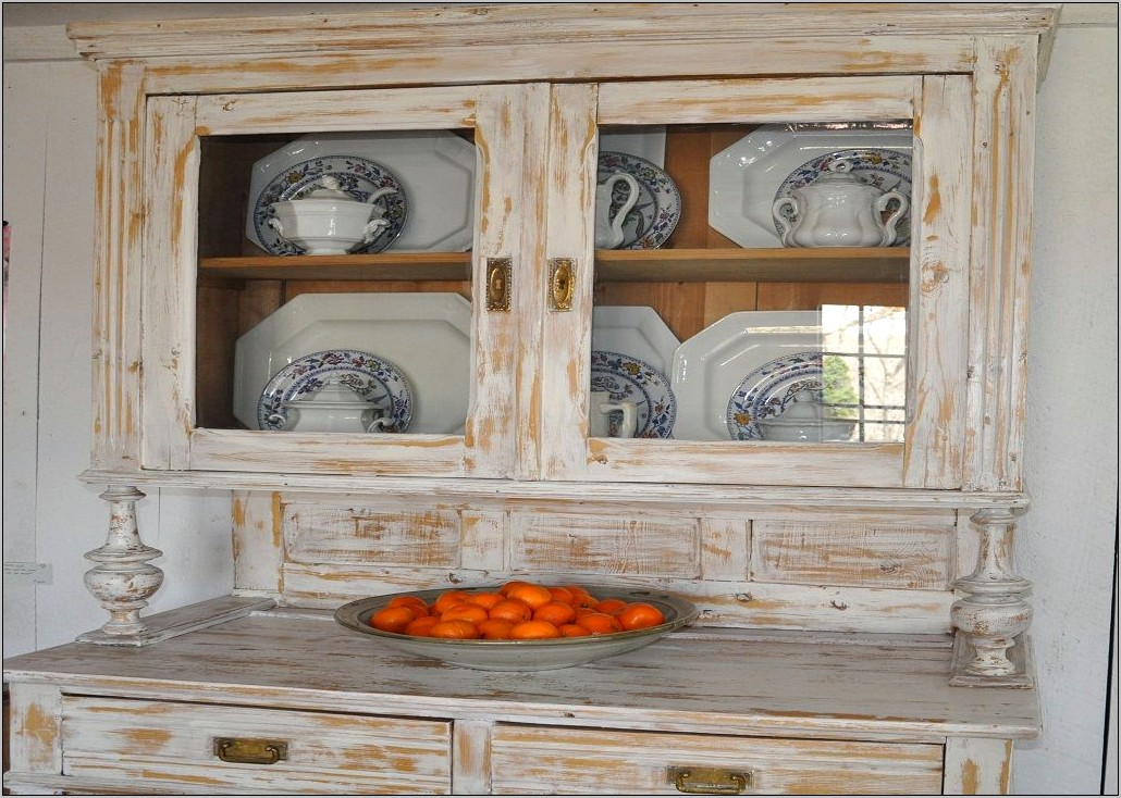 Decorating Small Vintage Hutch In Kitchen