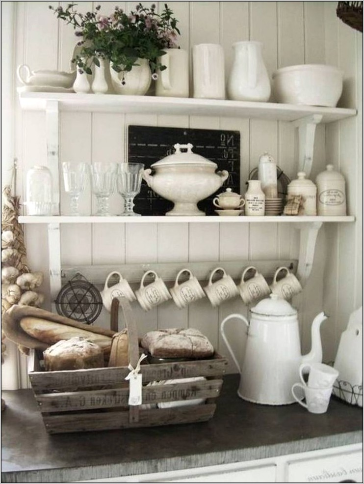 Decorating White Kitchen Shelves