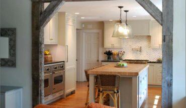 Decorative Beams Dividing Kitchen And Living Room