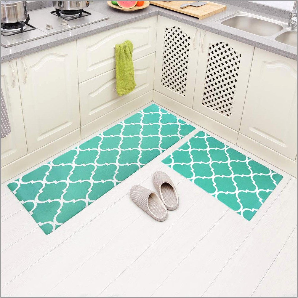 Decorative Kitchen Mats Anti Fatigue Turquoise
