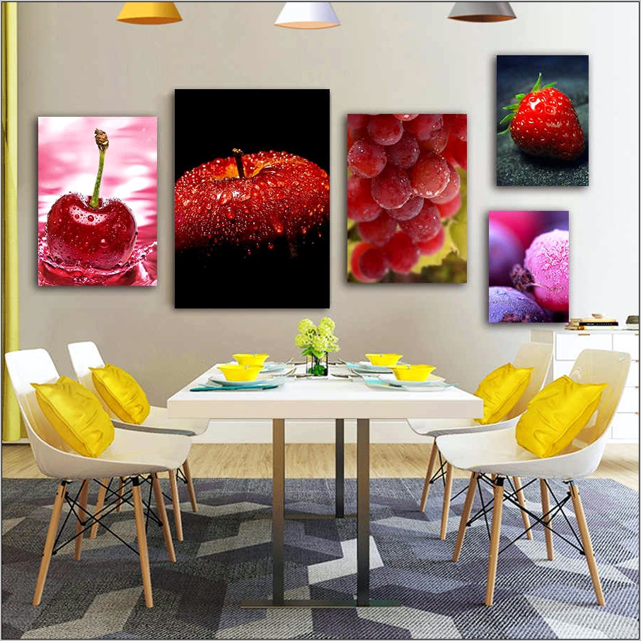Fake Fruit In Frame Wall Decor Kitchen